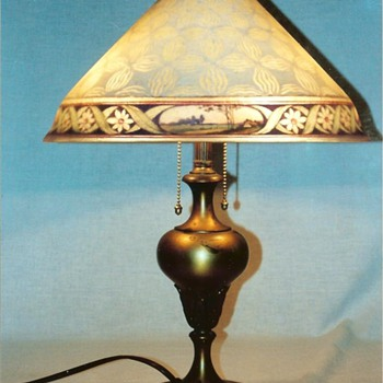 Pairpoint reverse painted scenic lamp - Lamps