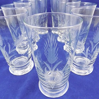 Etched Glass Tumblers with Wheat Pattern - Glassware