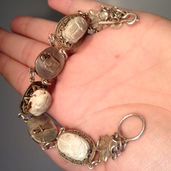 Vintage carved scarab and sterling bracelet - Costume Jewelry