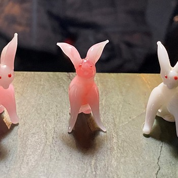 Three Little Glass  Bunnies  - Art Glass