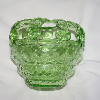 Rose Bowl Bride's Bank with Flower Frog Top  - Art Glass