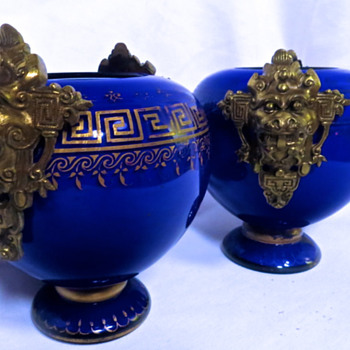 Cobalt Overlay Glass Ginger Jars with Bronze Foo Dog Handles - Glassware