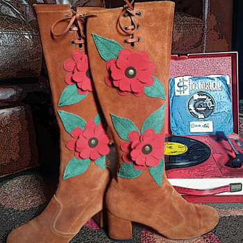 #40 ~ Two Pair Vintage Go-Go Boots + #41 Peter Max Fabric Display - Shoes