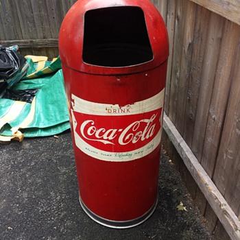 Scored Coca Cola Garbage Can - Coca-Cola