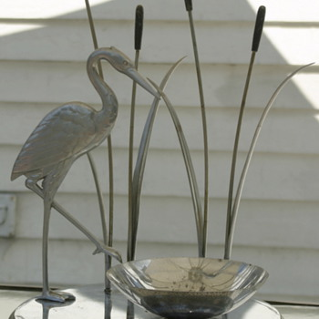 Mid Century Modern chrome Heron table centerpiece - what is it and who made it? - Art Deco
