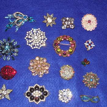 Rhinestone Brooch and Pin Mixed Lot - Costume Jewelry