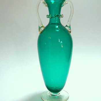 Footed Teal Glass Vase with Applied Handles - Art Glass