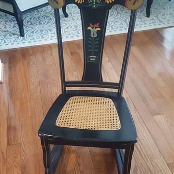 antique Pennsylvania dutch rocking chair with cane seat - Furniture