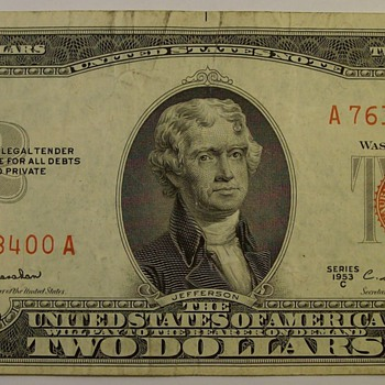 Old $2.00 United States Notes & Federal Reserve Notes 1953, '63 & '76