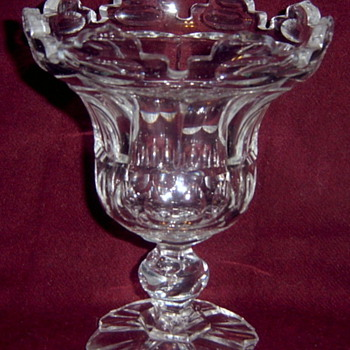 Elegant Heavy Cut Glass Compote - Glassware