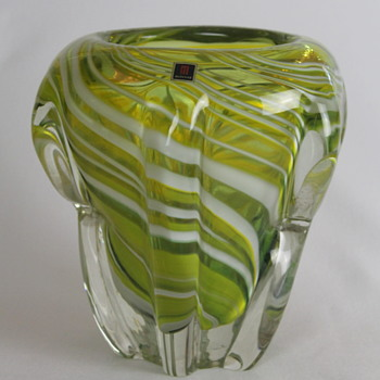 Multi Glass squat vase - Art Glass