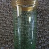 6 Lovely Green depression glass tumblers paneled & gold encrusted rims
