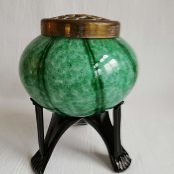 Welz Rose Bowl on Strutted Legs - Art Glass