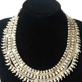 Mid-century bib necklace and cuff bracelet from India