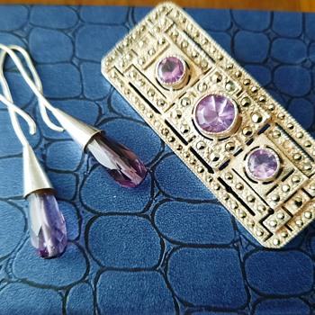 Art Deco Sterling Silver Amethyst Brooch and earrings - Art Deco