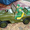 Rosko Battery-Operated Military Jeep (50s-60s)