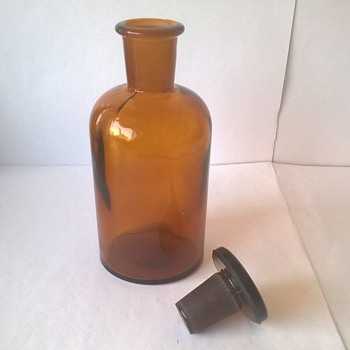 Brown Glass (Medicine) Bottle with Stopper - Bottles