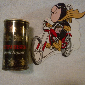 1971 Budweiser Malt Liquor Can and Malt Man Chopper Decal - Breweriana