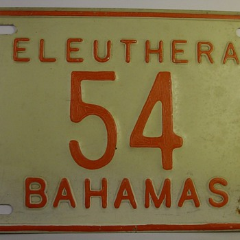 Eleuthera Bahamas License Plate (last stamped in '79) - Signs
