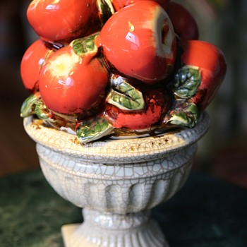 Faux Apple Centerpiece - Majolica - Pottery