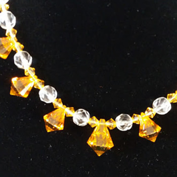 Vintage amber glass beads restrung with charity shop necklace - Art Deco