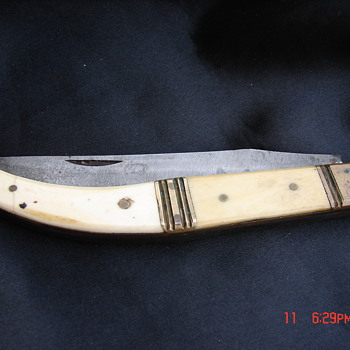 Antique Handmade Folding Knife Long Foreign Unknown?