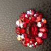 Sherman script signed red brooch with japanned setting