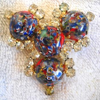 Millefiori & rhinestone Brooch - Costume Jewelry