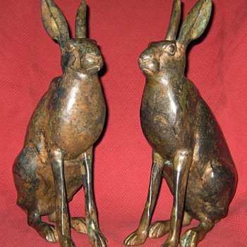Large  Pair of Pierre Chenet Solid Bronze Hares - Animals