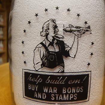Springport Dairy Farm (Harrisville, Mich.) war slogan UNCLE SAM HOLDING AN AIRPLANE - Bottles