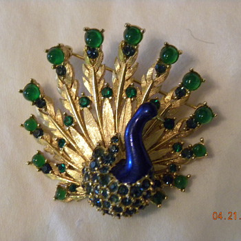 M. Boucher peacock brooch - Costume Jewelry