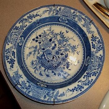 "Blue & White c1820 Bathwell & Goodwin Basket & Flowers."""