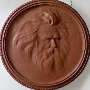 """Large Terra Cotta Portrait Relief, BRAHMS?, 15"""" Diameter , 1+1/4"""" Thick~Antique - Pottery"""