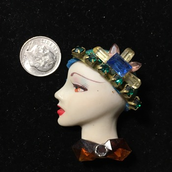 Lady with hat brooch  - Costume Jewelry