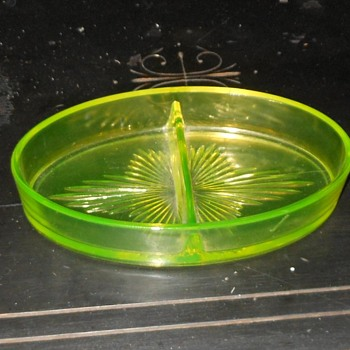 Vaseline Glass Diveded Relish Dish - Glassware