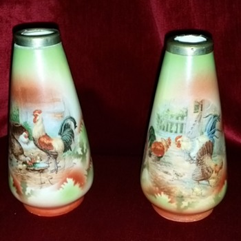 PAIR OF HANDPAINTED  RIMMED VASES GERMANY - Pottery