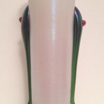 Kralik jewelled tadpole MOP bud vase - Art Glass