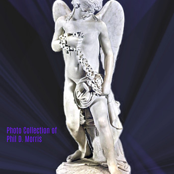 Antique Marble Statue by Joe Cormier (Joe Descomps) of Cupid With a Garland of Flowers, 32 Inches High. - Fine Art