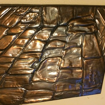 ANTIQUE COPPER HEBREW HAND FORGED Western (Wailing) Wall  - Fine Art