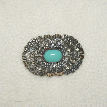 Brooch with Blue Cabochon Marked Sterling - Fine Jewelry