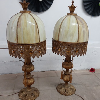 Heavy slag glass table lamp (two) - Lamps