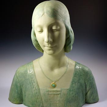 1895 Art Nouveau Faience Bust by Edmond Lachenal & Horace Daillion