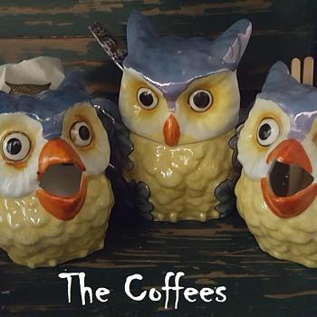 My Deco Lusterware Owl Coffee Set, Sugar, Creamers - Animals
