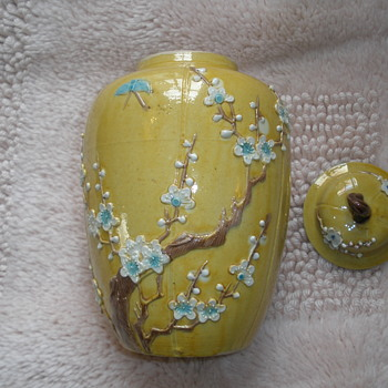 Chinese Export Porcelain Yellow Ware Jar w/Applied & Painted Plum Blossoms & Single Butterfly - Asian