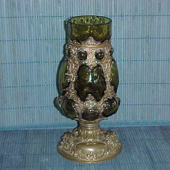 Bronze & Amber Glass Vase - Art Glass