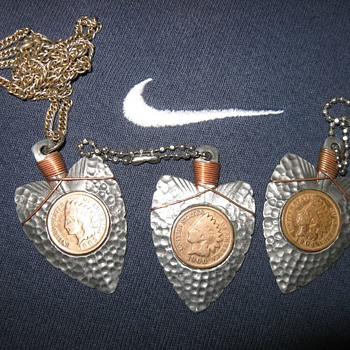 Arrowheads with Indian Penny's - Costume Jewelry