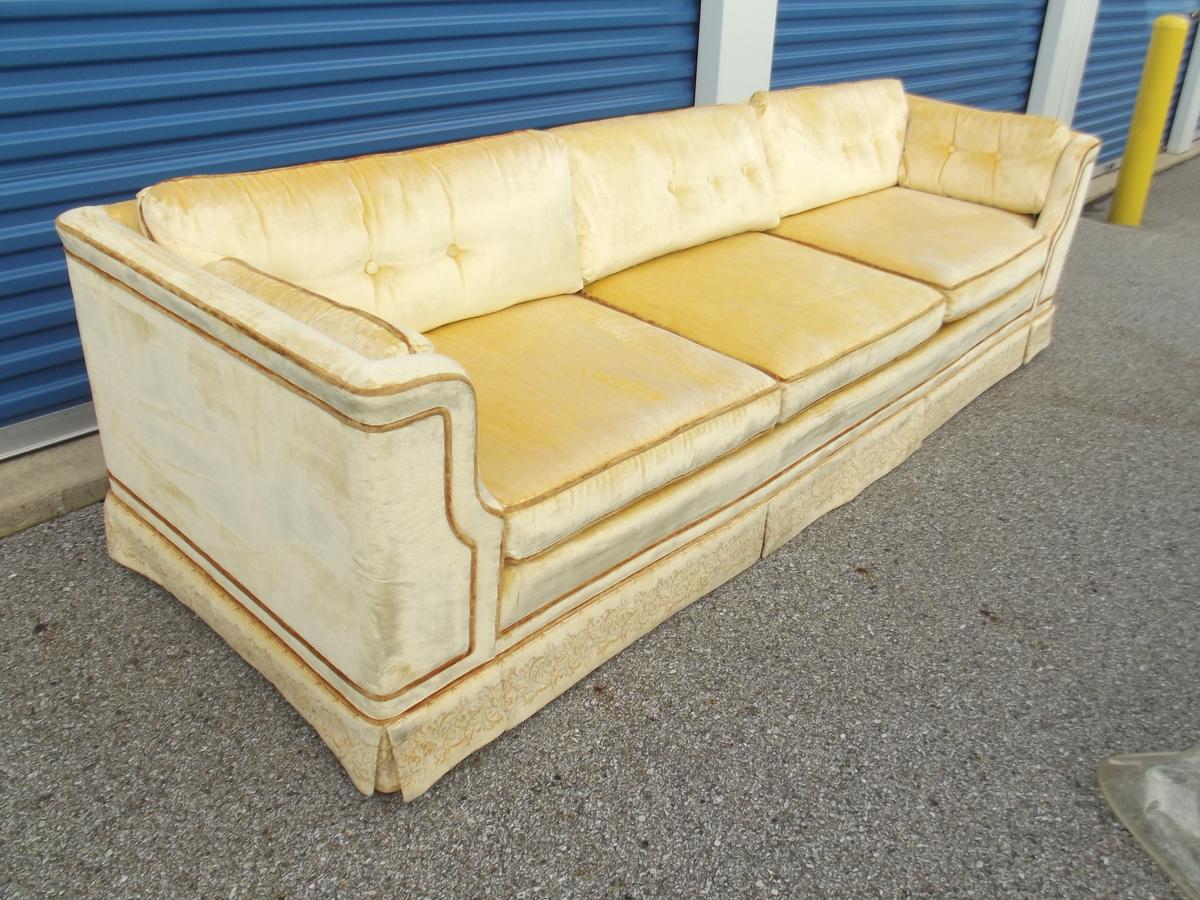 Vintage Mid Century Modern Velvet Sofa Signed Makers Mark