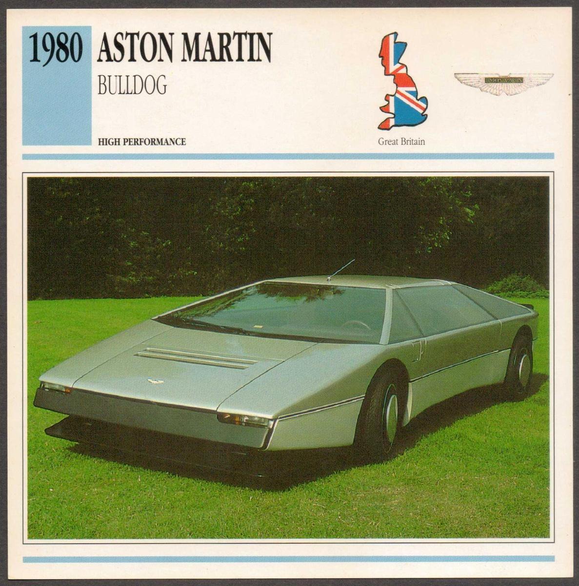 Vintage Car Card Aston Martin Bulldog Collectors Weekly - Aston martin bulldog