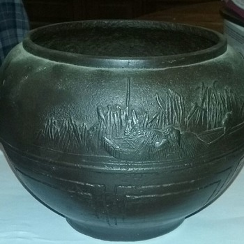 Bronze bowl with boat and birds