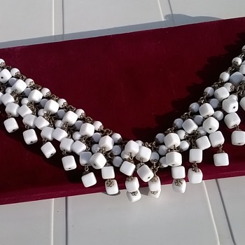Unusual Brass & Milk Glass Choker Necklace Thrift Shop Find $4.75 - Costume Jewelry